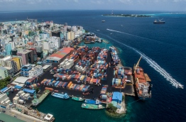 Aerial view of Male' Commercial Harbour.
