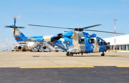 One of the two helicopters gifted by India to the Maldives.