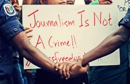 Reporters and journalists at a protest against the persecution of media and press in 2016.