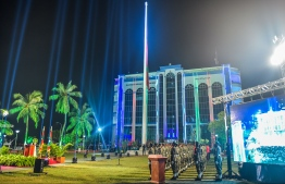 Flag raising ceremony held during the 50th Independence Day celebrations. PHOTO: MOHAMED SHARUHAAN/ MIHAARU