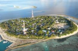An aerial view of Rasdhoo, Alifu Alifu Atoll. The island faces severe erosion, prompting a need for the coastal protection project. PHOTO: BUDGETHOLIDAYS