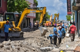 Road construction of Majeedhee Magu in Male' City. FILE PHOTO/MIHAARU