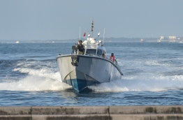 A speedboat owned by Maldives National Defence Force (MNDF) Coastguard. NISHAN ALI/ MIHAARU