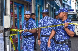 Members of the Maldives Police Service operating in the streets of Male'.  PHOTO: NISHAN ALI/ MIHAARU