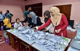Vote counting during local council elections. PHOTO: MIHAARU