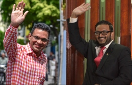 Former Minister of Defence Mohamed Nazim (L) and former Vice President Ahmed Adeeb. PHOTO: MIHAARU