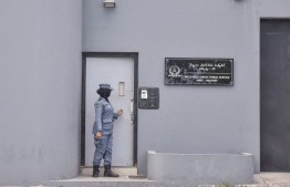 An officer of Maldives Correctional Service pictured outside Male Prison. PHOTO: NISHAN ALI / MIHAARU