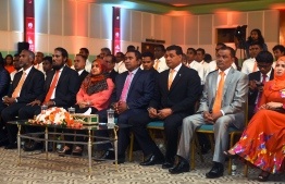 President Abdulla Yameen (C) and Ahmed Siyam (R-3) at the inauguration of MDA's first congress in February 2015. PHOTO/PRESIDENT'S OFFICE