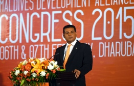 Inauguration of MDA's first congress-February 2015-Ahmed Siyam-Sun travels-MDALeader of Maldives Development Alliance (MDA) and Parliamentary Representative for Dhaalu Atoll's Meedhoo constituency MP Ahmed Siyam. PHOTO: PRESIDENT'S OFFICE