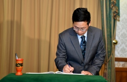 The Ambassador of China Zhang Lizhong Presents his credentials to the President. PHOTO: PRESIDENT'S OFFICE