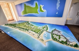 The model for the Baresdhoo Integrated Resort Development Project. PHOTO: NISHAN ALI / MIHAARU