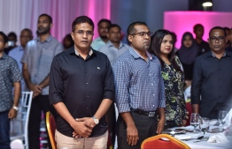 MP Ahmed Nihan (L) and MP Abdulla Khaleel at the launching of Y18 Sports Fiesta by PPM in September 2017. PHOTO: HUSSAIN WAHEED/MIHAARU