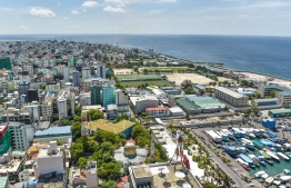 An aerial view of the congested capital city Male'. PHOTO: HUSSAIN WAHEED / MIHAARU