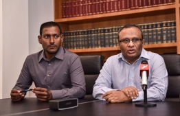 Lawyers Husnu Suood and lawyer Hussain Shameem during a press briefing.