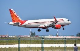 An aircraft of Air India takes off from Velana International Airport, in 2017. FILE PHOTO: NISHAN ALI / MIHAARU