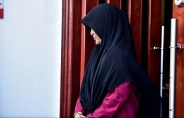 Aafiya Mohamed, charged with murdering her 3-year-old son Mohamed Ibthihal, at the Criminal Court. FILE PHOTO/MIHAARU