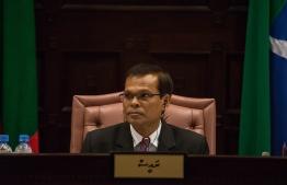 Parliament Speaker Abdulla Maseeh chairs a sitting. PHOTO/MAJILIS