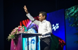 President Abdulla Yameen speaking at a PPM rally held at the capital Male. PHOTO: MIHAARU