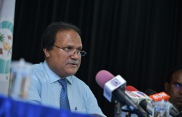 President of the Civil Service Commission Dr. Shameem addresses a press gathering. PHOTO: MIHAARU