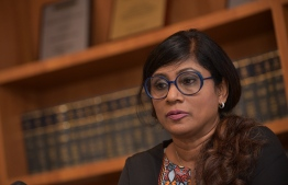 Minister of Defence Mariya Ahmed Didi speaking at a press conference. PHOTO: MIHAARU