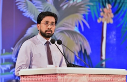 Home minister Azleen Ahmed talks at a function. FILE PHOTO/MIHAARU
