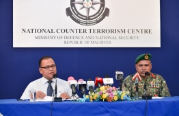 A press briefing by National Counter Terrorism Centre (NCTC). NCTC denied claims of Maldivian involvement in Sunday's bombings in Sri Lanka. PHOTO: HUSSAIN WAHEED / MIHAARU