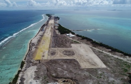 Maafaru International Airport mid-development in Noonu Atoll. PHOTO: HUSSAIN WAHEED / MIHAARU