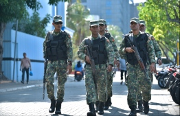 Armed soldiers of MNDF in capital Male City. PHOTO: NISHAN ALI/MIHAARU