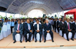 Former President Mohamed Nasheed pictured with officials of India's GMR Group at the main airport of the Maldives.