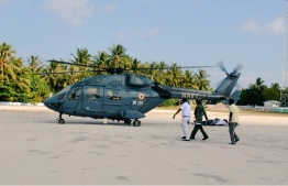 The Indian helicopter used to carry a patient from Ungoofaaru, Raa Atoll. PHOTO: INDIAN HIGH COMMISSION