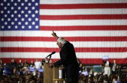"Sanders refused to concede defeat to Hillary Clinton late on June 7, vowing to ""continue the fight"" for the Democratic nomination despite his rival declaring herself the party's flagbearer for the US presidential race. / AFP PHOTO"