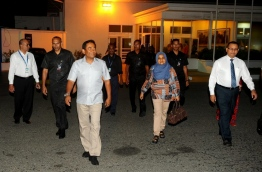 President Yameen pictured at the airport prior to departure to Singapore recently. PHOTO/PRESIDENT'S OFFICE