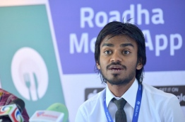 Allied's marketing manager Niushad Shareef speaking during the press conference. MIHAARU PHOTO