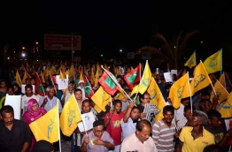 MDP supporters pictured during an anti-government protest. PHOTO/MDP SECRETARIAT