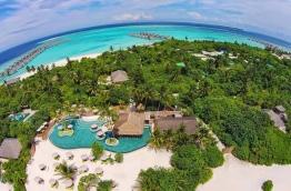An aerial view of Six Senses resort in Laamu Atoll.