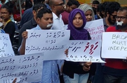 Journalists pictured during a protest calling on the government to ensure media freedom in the Maldives. PHOTO/MALDIVES INDEPENDENT