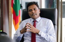 Home minister Umar Naseer gestures during an interview with Mihaaru. MIHAARU PHOTO/MOHAMED SHARUHAAN
