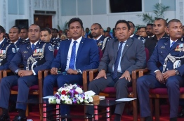 Home Minister Umar Naseer (3RD R) with president Yameen (2ND R) at the official ceremony to mark the 83rd Anniversary of Maldives Police Service. MIHAARU PHOTO/NISHAN ALI
