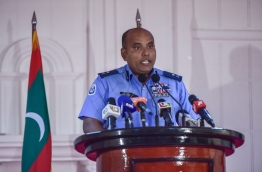 Assistant police chief Abdulla Nawaz speaks during the press conference on Tuesday. MIHAARU PHOTO/MOHAMED SHARUHAAN