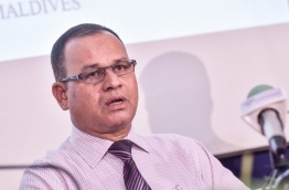 Defence minister Adam Shareef (L) pictured during the press conference held by the counter terrorism centre on last week. MIHAARU PHOTO/NISHAN ALI