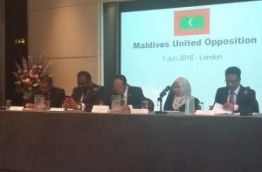 The leading members of the Maldives United Opposition in London.