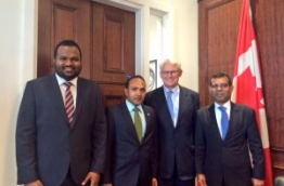 Former president Nasheed (R), former VP Dr Jameel (3R) and MDP Chairperson Ali Waheed (L) with Canadian High Commissioner.