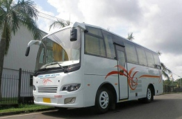 One of the 13 buses acquired by MPL to resume bus service in Addu and Fuvahmulah.