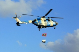 The first helicopter gifted by India to the Maldives in 2010. PHOTO/MNDF