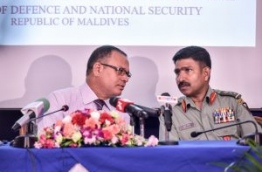 Defence minister Adam Shareef (L) pictured during the press conference held by the counter terrorism centre on Wednesday. MIHAARU PHOTO/NISHAN ALI