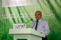 Former president and PPM president Gayoom pictured speaking during a recent ceremony. MIHAARU PHOTO/MOHAMED SHARUHAAN