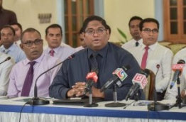 Attorney General and actin home minister Mohamed Anil (C) pictured during a press conference. MIHAARU PHOTO/MOHAMED SHARUHAAN