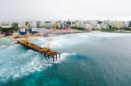An aerial view of the temporary platform constructed for the landmark China-Maldives friendship bridge. MIHAARU FILE PHOTO