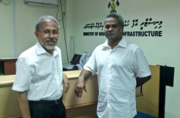 MDP deputy chairperson Ali Niyaz (R) pictured at the housing ministry on Wednesday. PHOTO/MDP