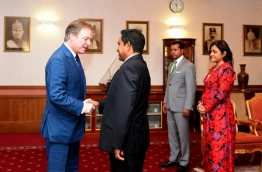 Hugo Swire, the Minister of State, Foreign and Commonwealth Office (L) shakes the hand of president Yameen during a visit to the Maldives in January. PHOTO/PRESIDENT'S OFFICE